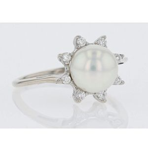 14k Poppy Finch diamond and pearl ring. $365 Firm